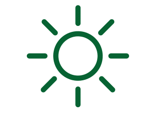 Small green icon of a sun